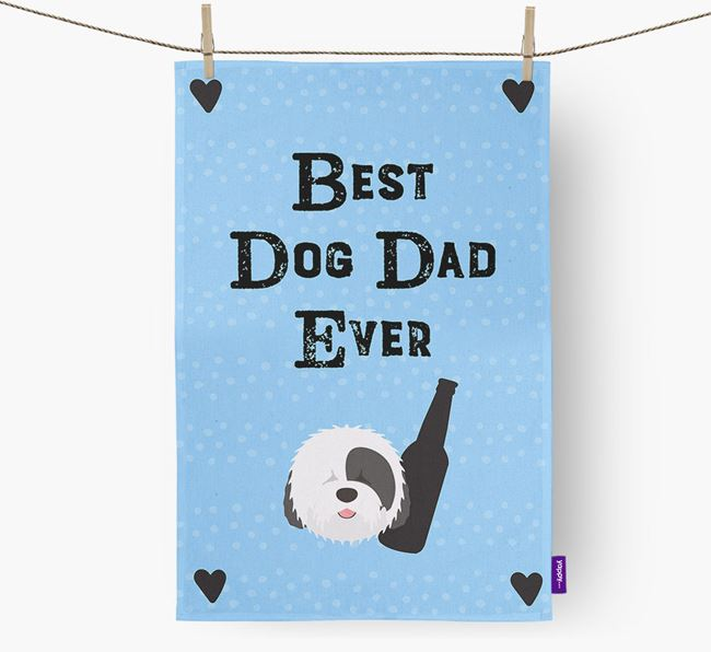 'Best Dog Dad' Dish Towel with Old English Sheepdog Icon