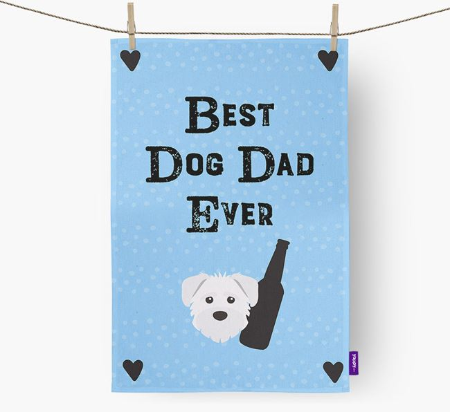 'Best Dog Dad' Dish Towel with Schnoodle Icon