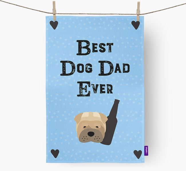 'Best Dog Dad' Dish Towel with Dog Icon