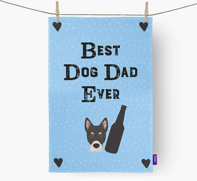 'Best Dog Dad' Dish Towel with Siberian Cocker Icon