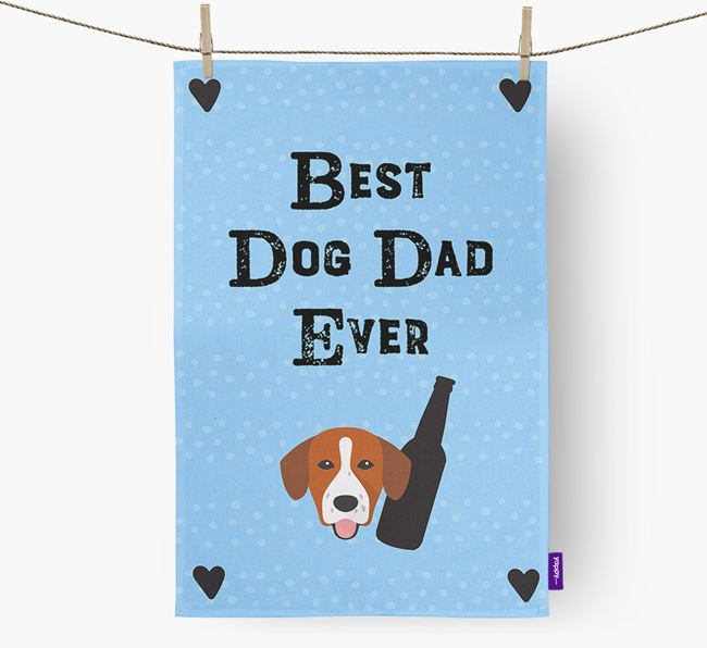 'Best Dog Dad' Tea Towel with Springador Icon