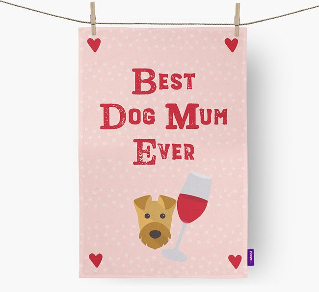 'Best Dog Mum' Tea Towel with Airedale Terrier Icon