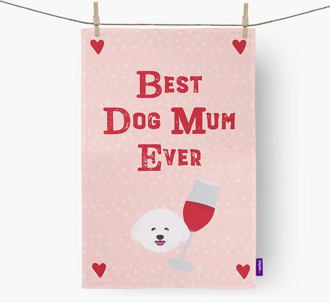 'Best Dog Mum' Tea Towel with Bichon Frise Icon