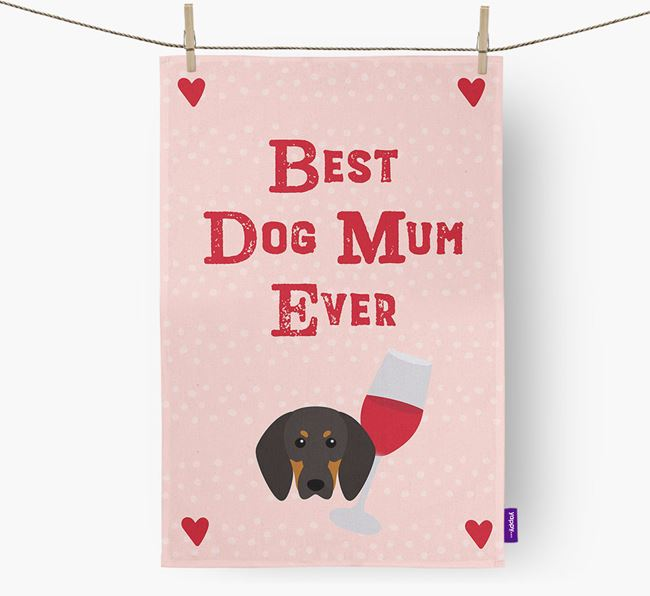 'Best Dog Mum' Tea Towel with Black and Tan Coonhound Icon