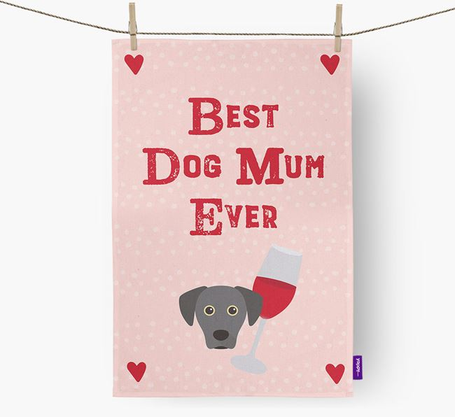 'Best Dog Mum' Tea Towel with Blue Lacy Icon