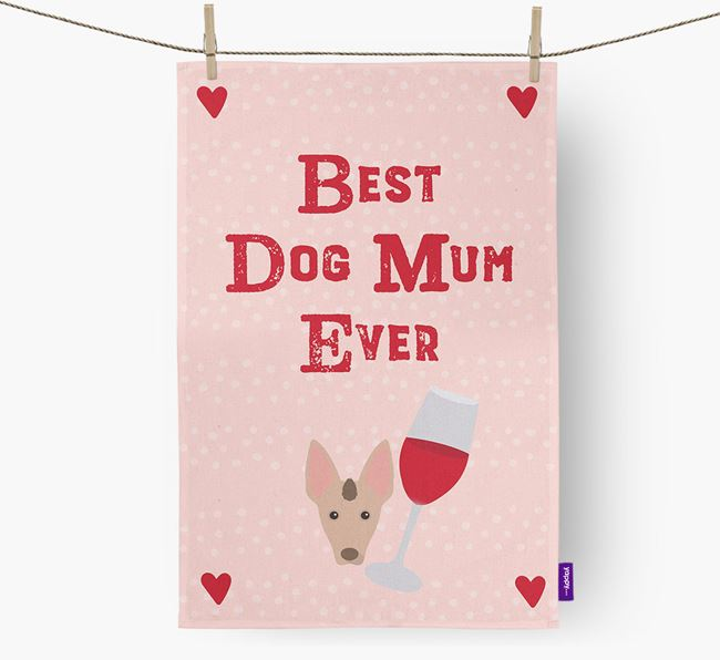 'Best Dog Mum' Tea Towel with Mexican Hairless Icon