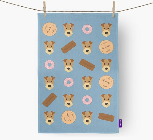Biscuit Pattern Tea Towel with Airedale Terrier Icons