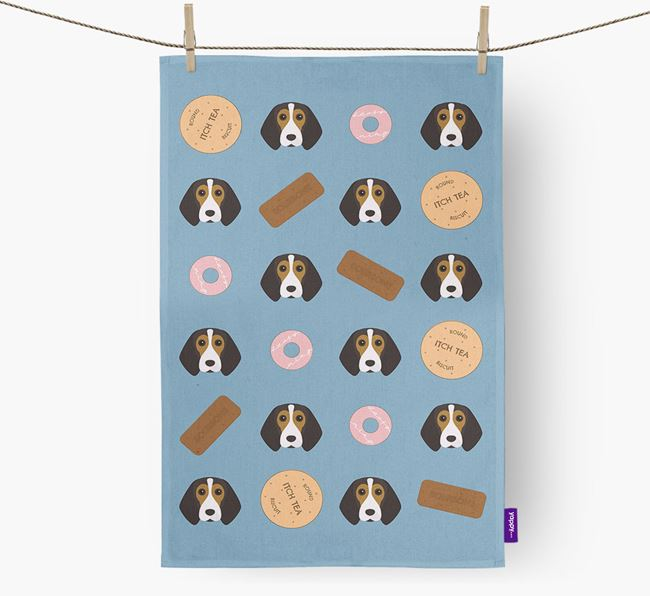 Biscuit Pattern Tea Towel with Beagle Icons