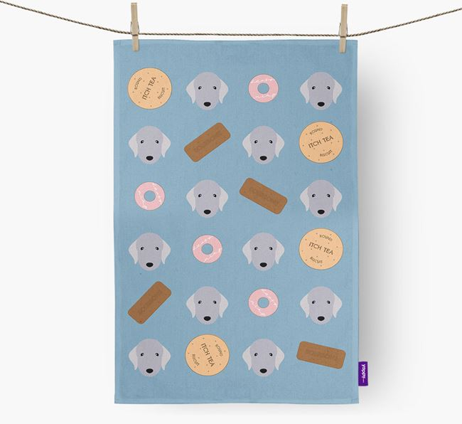 Biscuit Pattern Tea Towel with Bedlington Terrier Icons