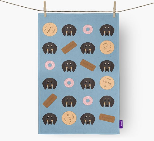 Biscuit Pattern Tea Towel with Black and Tan Coonhound Icons