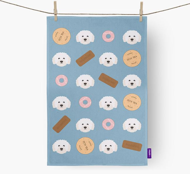 Biscuit Pattern Tea Towel with Bolognese Icons