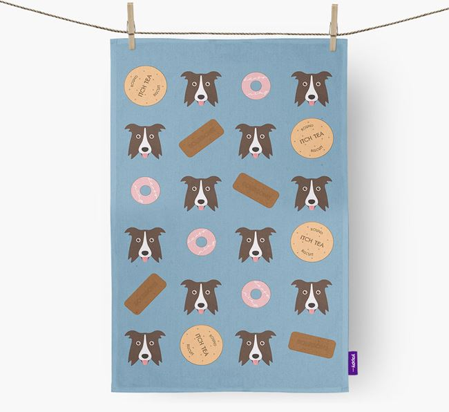 Biscuit Pattern Tea Towel with Border Collie Icons