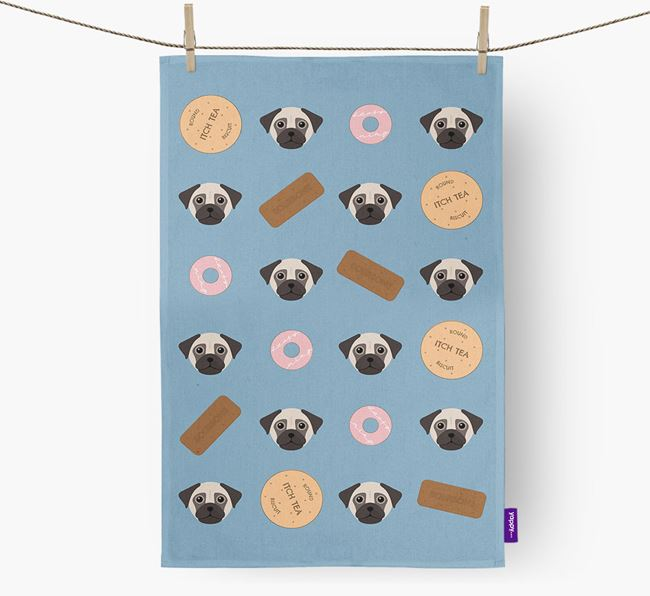 Biscuit Pattern Tea Towel with Chug Icons