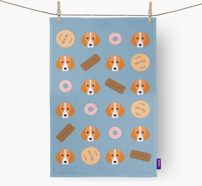 Biscuit Pattern Tea Towel with Foxhound Icons