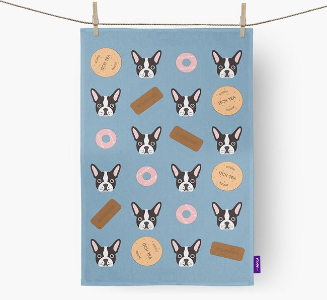 Biscuit Pattern Tea Towel with French Bulldog Icons
