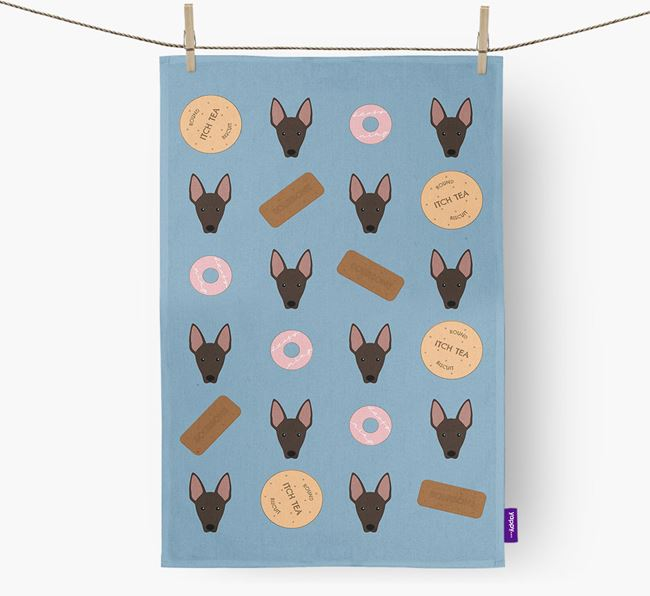Biscuit Pattern Tea Towel with Mexican Hairless Icons