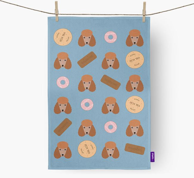 Biscuit Pattern Tea Towel with Poodle Icons