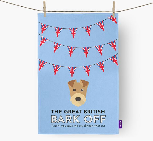 The Great British 'Bark' Off Tea Towel with Airedale Terrier Icon