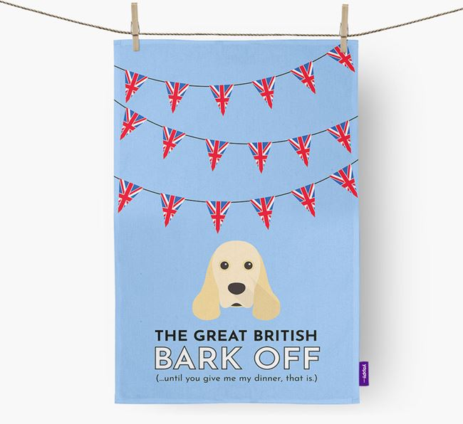 The Great British 'Bark' Off Tea Towel with American Cocker Spaniel Icon