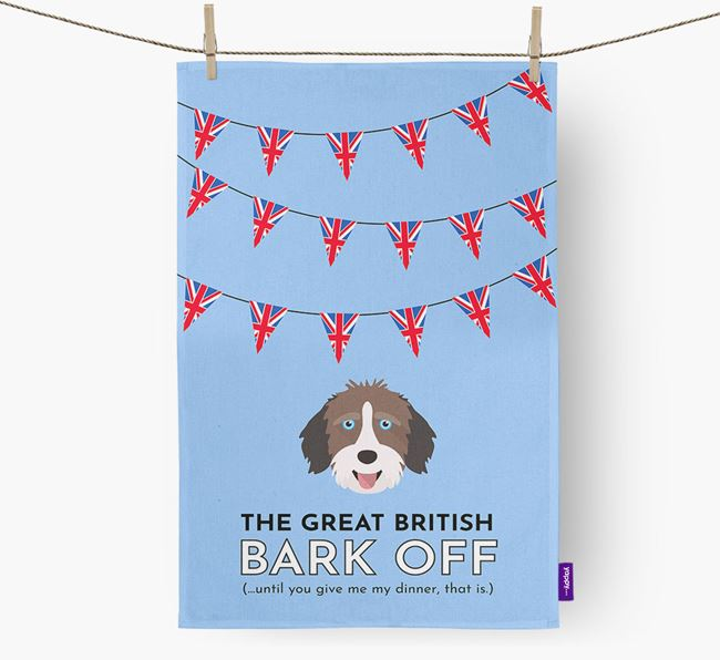 The Great British 'Bark' Off Tea Towel with Aussiedoodle Icon
