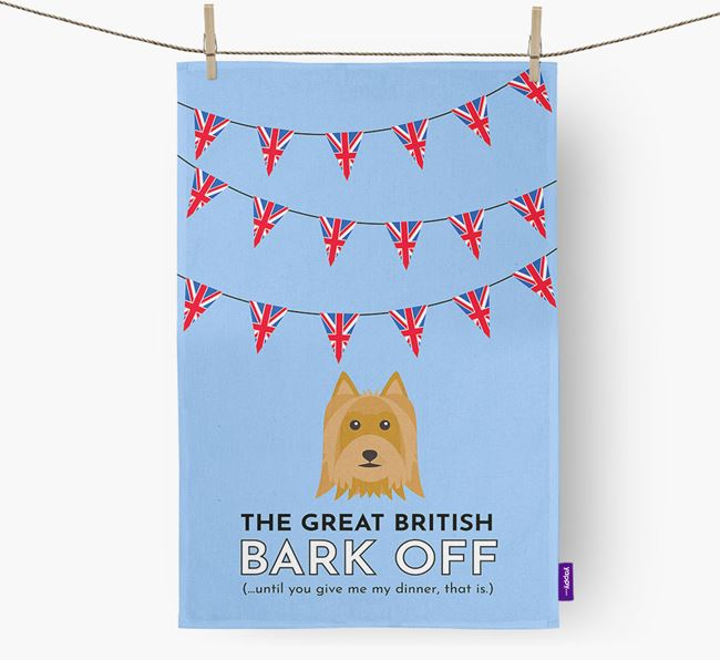 The Great British 'Bark' Off Tea Towel with Australian Silky Terrier Icon