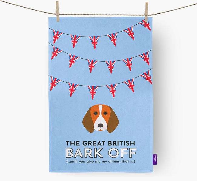 The Great British 'Bark' Off Tea Towel with Beagle Icon