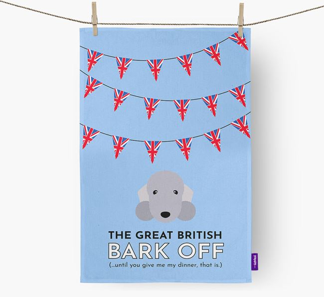 The Great British 'Bark' Off Tea Towel with Bedlington Terrier Icon