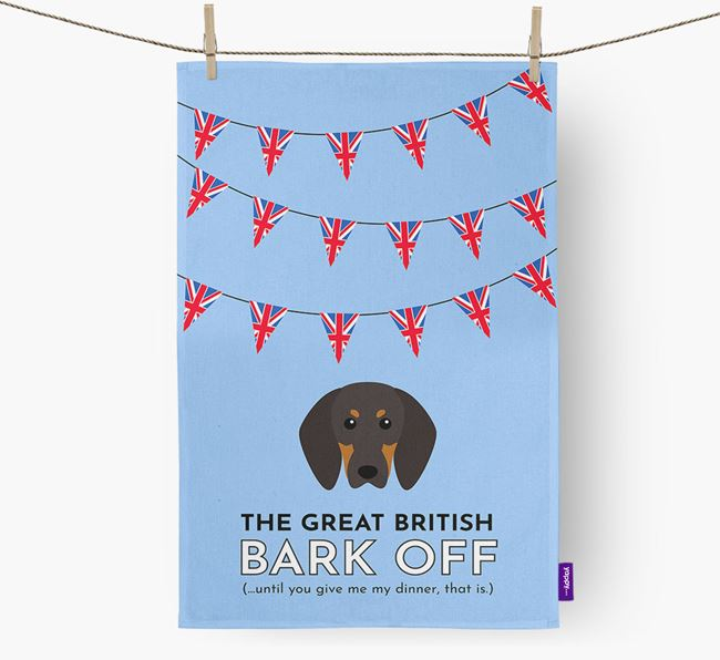 The Great British 'Bark' Off Tea Towel with Black and Tan Coonhound Icon