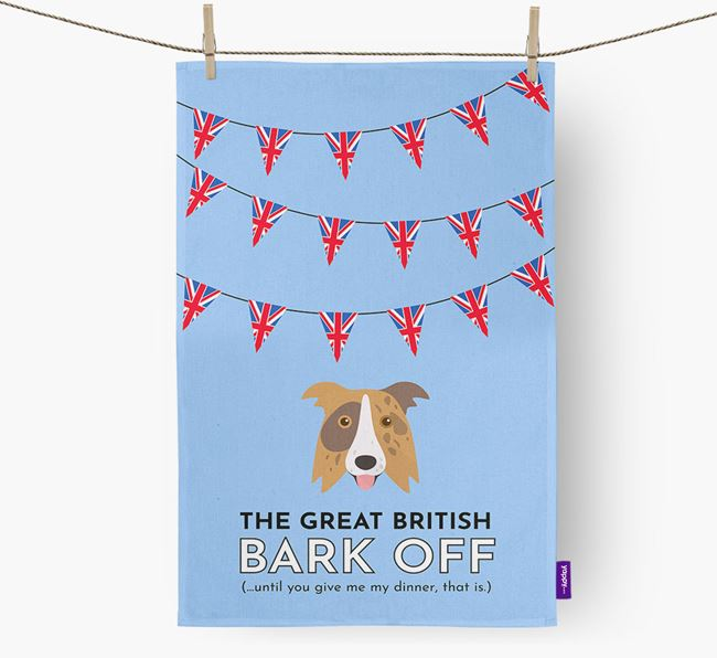 The Great British 'Bark' Off Tea Towel with Border Collie Icon