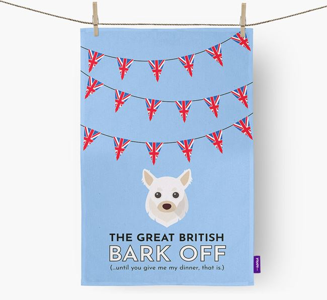 The Great British 'Bark' Off Tea Towel with Chihuahua Icon