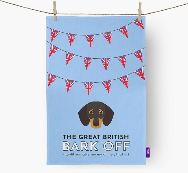 The Great British 'Bark' Off Tea Towel with Dachshund Icon
