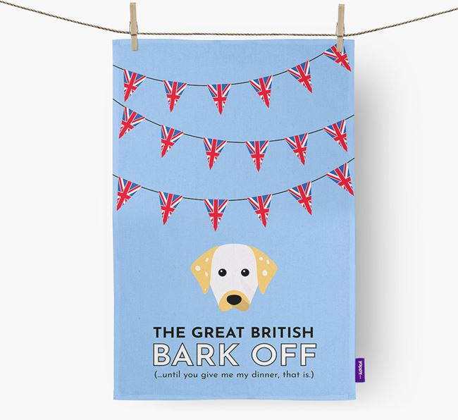 The Great British 'Bark' Off Tea Towel with Dalmatian Icon