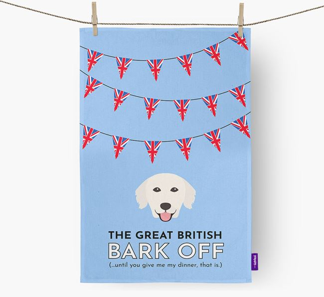 The Great British 'Bark' Off Tea Towel with Golden Retriever Icon