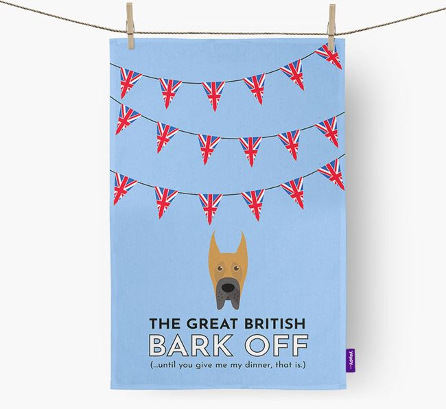 The Great British 'Bark' Off Tea Towel with Great Dane Icon