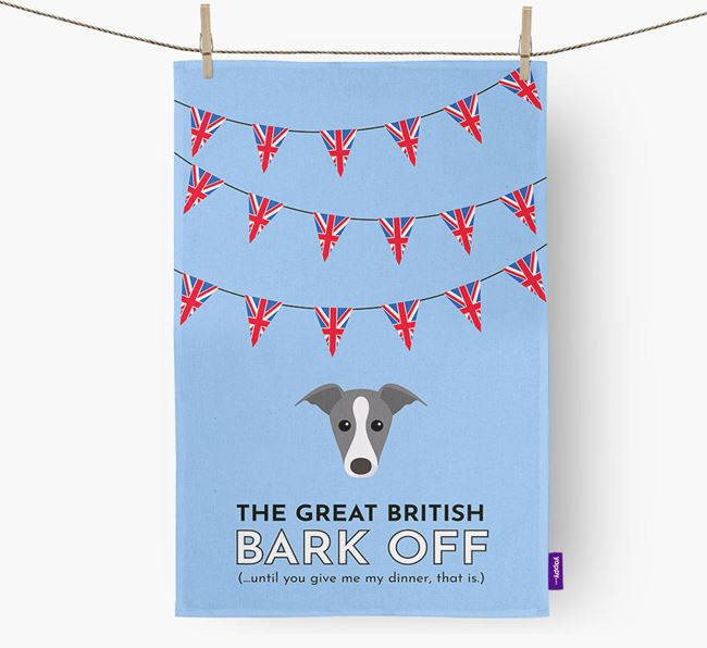 The Great British 'Bark' Off Tea Towel with Greyhound Icon