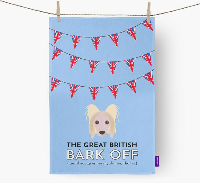 The Great British 'Bark' Off Tea Towel with Hairless Chinese Crested Icon