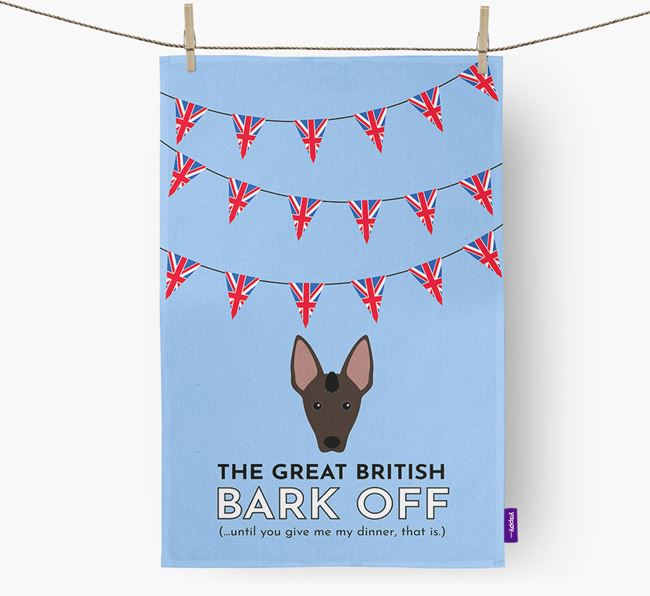 The Great British 'Bark' Off Tea Towel with Mexican Hairless Icon