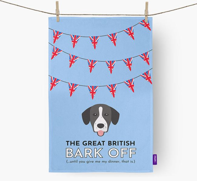 The Great British 'Bark' Off Tea Towel with Springador Icon