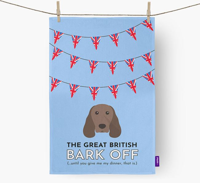 The Great British 'Bark' Off Tea Towel with Springer Spaniel Icon