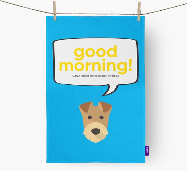 Tea Towel 'Good Morning!' with Airedale Terrier Icon