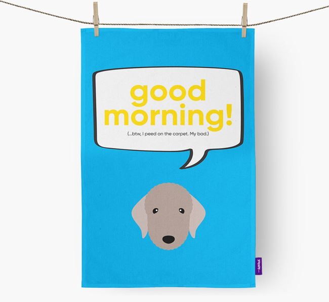 Tea Towel 'Good Morning!' with Bedlington Terrier Icon