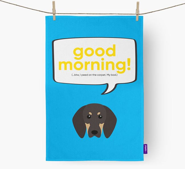 Tea Towel 'Good Morning!' with Black and Tan Coonhound Icon