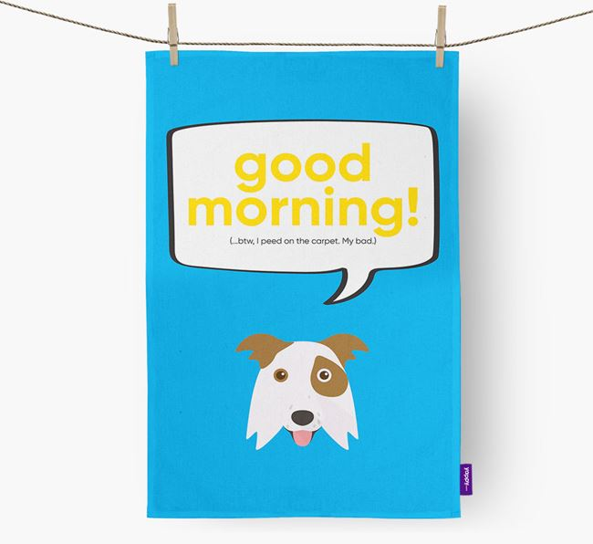 Tea Towel 'Good Morning!' with Border Collie Icon