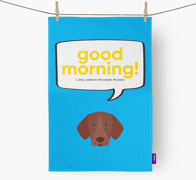 Tea Towel 'Good Morning!' with German Shorthaired Pointer Icon
