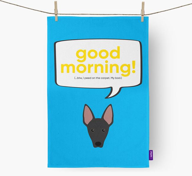 Tea Towel 'Good Morning!' with Mexican Hairless Icon