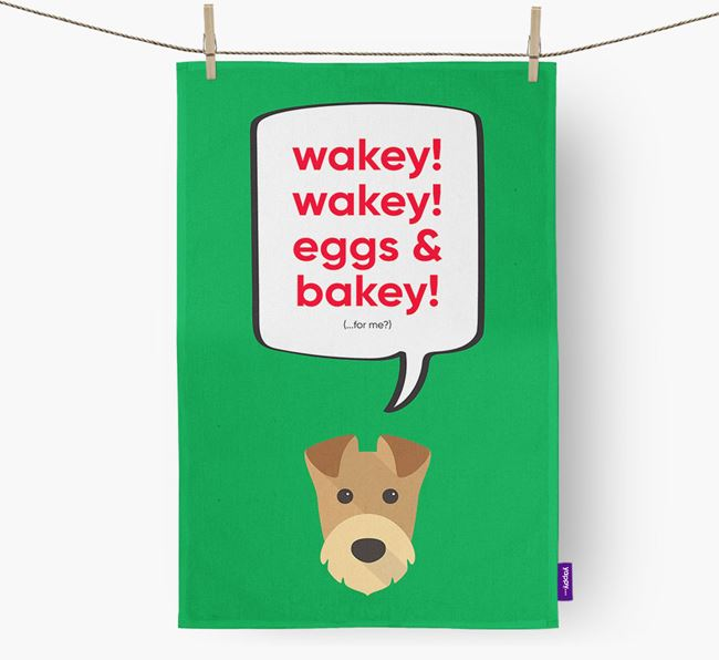 Tea Towel 'Wakey Wakey' with Airedale Terrier Icon