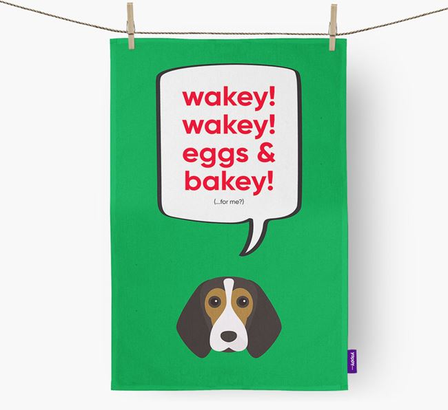 Tea Towel 'Wakey Wakey' with Beagle Icon