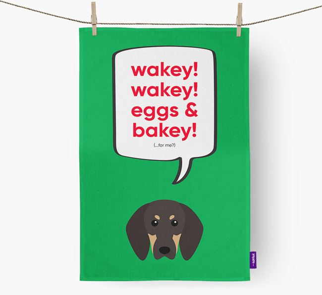 Tea Towel 'Wakey Wakey' with Black and Tan Coonhound Icon