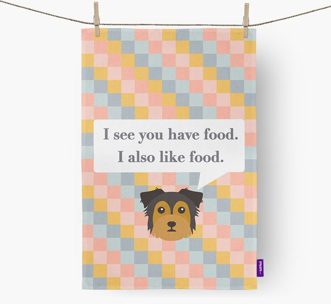 Dish Towel 'I see you have food' with Chorkie Icon